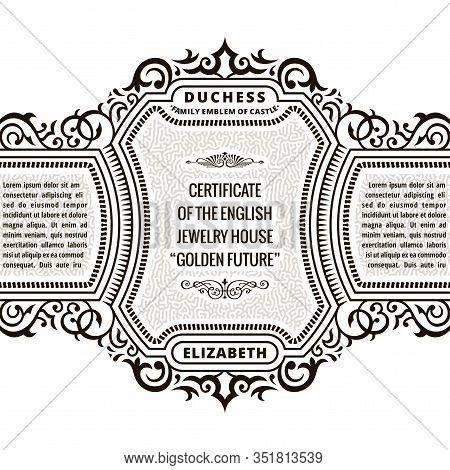 Vintage Frame And Label. Premium Certificate Logo. Design Emblem On Transparent Background