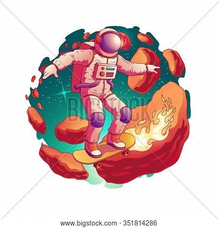 Astronaut In Spacesuit Riding Skateboard With Fire From Wheels On Asteroids Belt In Outer Space Cart