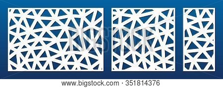 Laser Cut Panel. Cutout Silhouette With Abstract Geometric Pattern, Lines, Triangles, Grid. Decorati