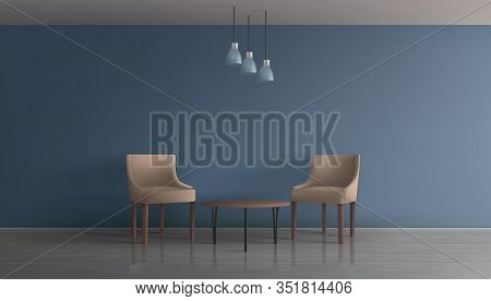 Modern Apartment Living Room, Hotel Lounge, Office Waiting Area Minimalistic Interior 3d Realistic M
