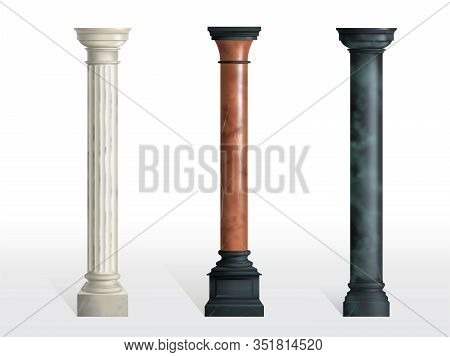 Antique Cylindrical Columns Of White, Red And Black Marble Stone With Cubical Base Realistic Isolate