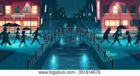 Wet, Sloppy Autumn Weather Cartoon Concept. People Under Umbrellas Walking On City Street Slush, Cro