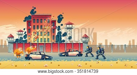 Prisoners Rebellion Or Riot In City Prison Cartoon Concept. Inmates Escaping From Jail, Crushing Pol