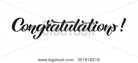 Congratulation Hand Lettering. Vector Illustration With Lettering-congratulations-on White Backgroun