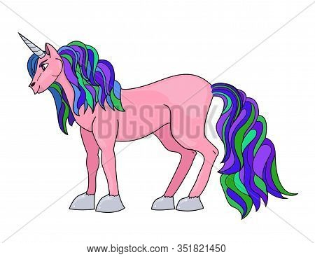 Magical Creature. Pink Unicorn With A Colorful Mane And Tail And With A Silver Horn. Vector Illustra