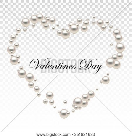Heart Shape Frame Painting Isolated On Transparent Background. Pearl Chains. Realistic White Pearls.