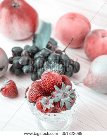 Fresh Fruits. Healthy Food. Mixed Fruit, Apples, Strawberries, Peaches, Grapes, Pears. Studio Photog