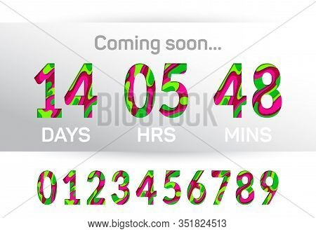 Coming Soon Time Countdown Graphic Design. Paper Cut 3d Multilayer Numbers, Figures. Countdown Clock