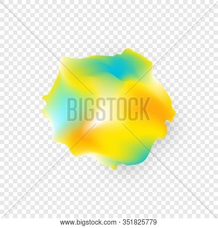 Colorful Ink Paint On Transparent Background. Ethereal Abstract Flow. Vector Illustration For Design