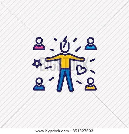 Vector Illustration Of Attract People Icon Colored Line. Beautiful Emoticon Element Also Can Be Used