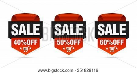 Red Set Of Sale Badges 40%, 50%, 60% Off With Shopping Cart. Vector Illustration