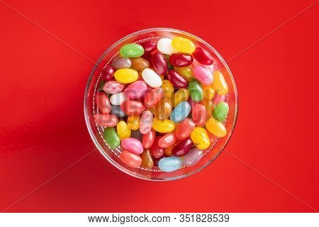 Fruity jellybeans. Tasty colorful jelly beans in glass bowl.
