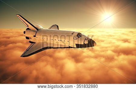 Space Shuttle Above The Clouds During Sunrise. 3d Illustration.