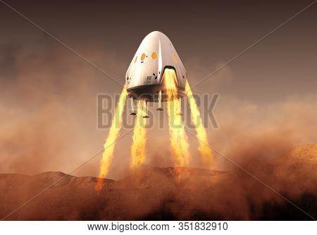 Private Spacecraft Module Lands On Planet Mars. 3d Illustration.