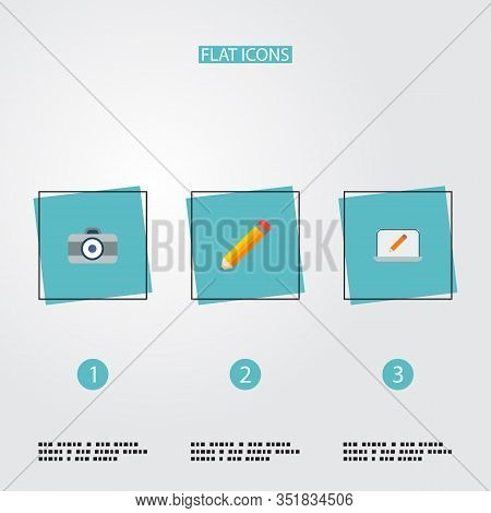 Set Of Original Icons Flat Style Symbols With Monitor, Pencil, Dslr Camera And Other Icons For Your