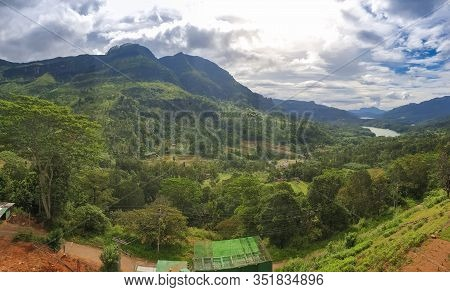 Panoramic Photo Of Beautiful Valley In The Mountains Of Sri Lanka