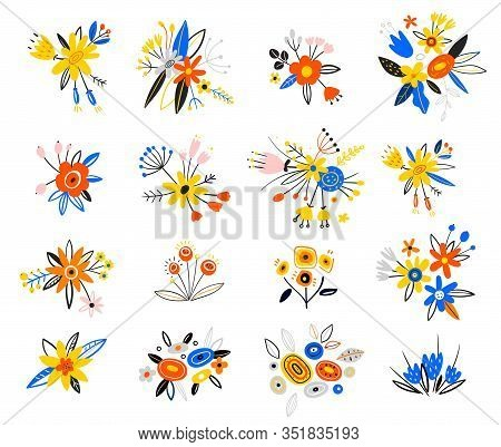 Floral Bouquet Design. Flower Buds With Berries, Green Leaves And Branches. Spring Flowers In A Flat