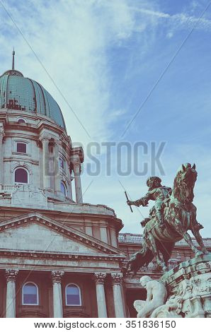 Budapest, Hungary - Nov 6, 2019: Buda Castle With The Equestrian Statue Of Savoyai Eugen In The Cour