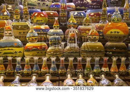 Dubai, Uae - December 29 2017: Traditional Bottles Decorated With Colored Sand In Dubai