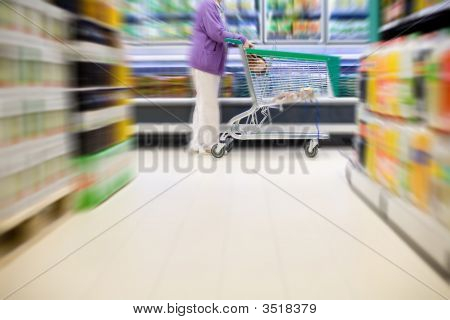Supermarket Buyer With Shopping Cart