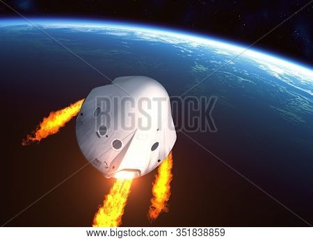 Private Spacecraft Module Orbiting Planet Earth. 3d Illustration.