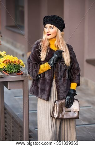 Beautiful Winter Outfit. Chic And Trendy. Matching Different Textures Outfit. Fashion And Beauty. Au