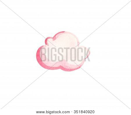 Cute White Watercolor Cloud. Watercolour Pink Cloud Objects Isolated On White Background For Your De
