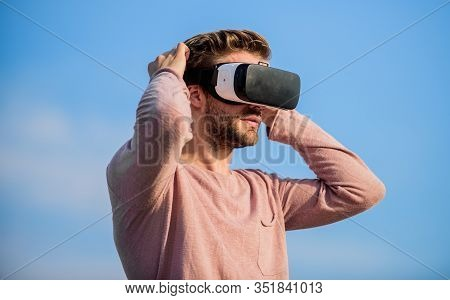 Digital Future And Innovation. Cyber Space. Virtual Reality. Handsome Man With Wireless Vr Glasses H
