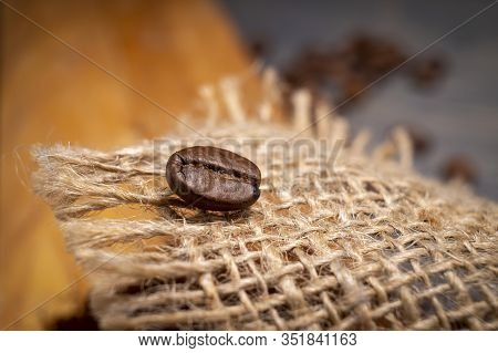 Single Roasted Coffee Bean On Hessian Fabric In A Close Up View