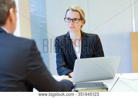 Executive man having an interview for job position