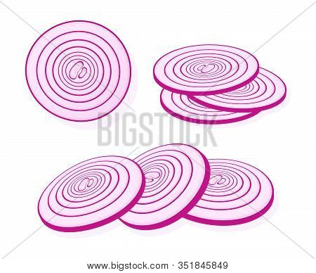 Sliced Red Onion Isolated On White Background. Rings Of Red Onion. Vector Illustration.