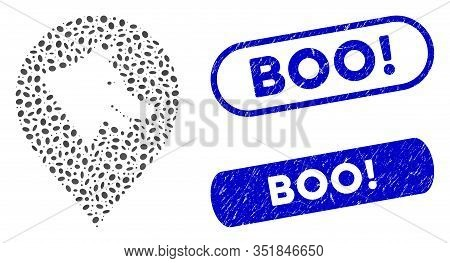 Mosaic Evil Dog Marker And Rubber Stamp Seals With Boo Exclamation Caption. Mosaic Vector Evil Dog M
