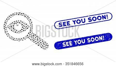 Mosaic Examine Eye And Distressed Stamp Seals With See You Soon Exclamation Text. Mosaic Vector Exam