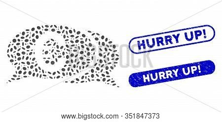 Mosaic Euro Chat And Corroded Stamp Seals With Hurry Up Exclamation Text. Mosaic Vector Euro Chat Is