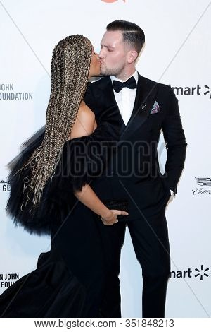 LOS ANGELES - FEB 9:  Leona Lewis, Dennis Jauch at the 28th Elton John Aids Foundation Viewing Party at the West Hollywood Park on February 9, 2020 in West Hollywood, CA