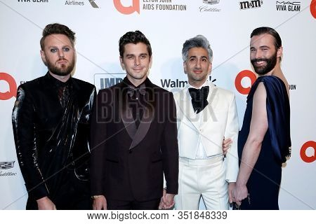 LOS ANGELES - FEB 9:  Bobby Berk, Antoni Porowski, Tan France, Jonathan Van Ness at the Elton John Aids Foundation Viewing Party at the West Hollywood Park on February 9, 2020 in West Hollywood, CA