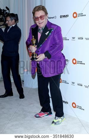 LOS ANGELES - FEB 9:  Elton John at the 28th Elton John Aids Foundation Viewing Party at the West Hollywood Park on February 9, 2020 in West Hollywood, CA