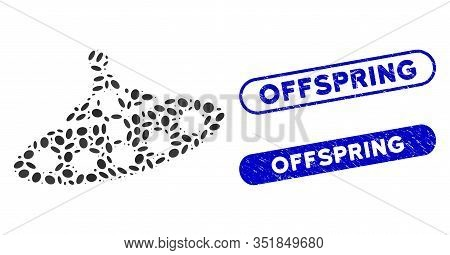 Mosaic Aboard Ufo And Rubber Stamp Watermarks With Offspring Text. Mosaic Vector Aboard Ufo Is Creat