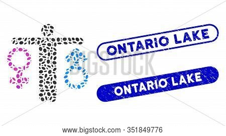 Mosaic Bisexual Man And Corroded Stamp Seals With Ontario Lake Caption. Mosaic Vector Bisexual Man I