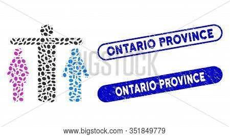 Mosaic Bisexual Person And Grunge Stamp Watermarks With Ontario Province Phrase. Mosaic Vector Bisex
