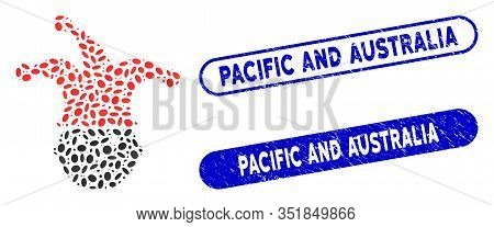 Mosaic Clown Head And Distressed Stamp Seals With Pacific And Australia Caption. Mosaic Vector Clown