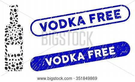 Mosaic Cold Vodka Bottle And Distressed Stamp Seals With Vodka Free Text. Mosaic Vector Cold Vodka B