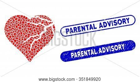 Mosaic Corrupted Love Heart And Distressed Stamp Seals With Parental Advisory Phrase. Mosaic Vector
