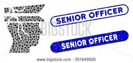 Collage Corrupted Police Officer And Corroded Stamp Seals With Senior Officer Phrase. Mosaic Vector