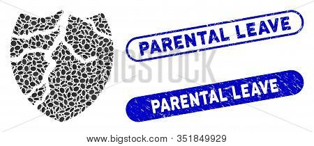 Mosaic Corrupted Shield And Distressed Stamp Seals With Parental Leave Caption. Mosaic Vector Corrup