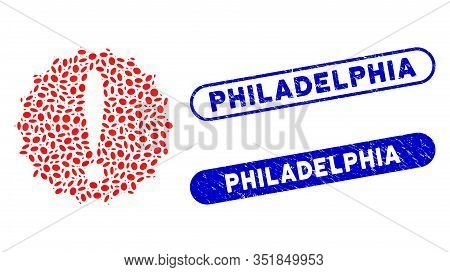 Mosaic Dangerous Conditions And Distressed Stamp Seals With Philadelphia Caption. Mosaic Vector Dang