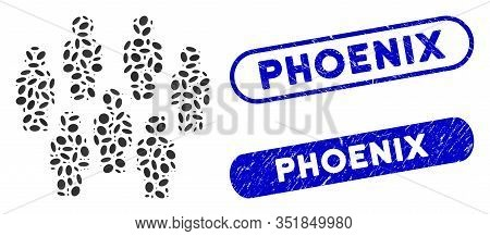 Mosaic Demography And Corroded Stamp Seals With Phoenix Text. Mosaic Vector Demography Is Composed W
