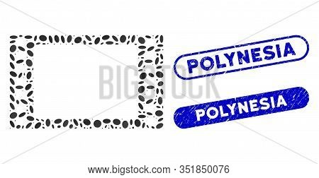 Collage Film Frame And Grunge Stamp Seals With Polynesia Text. Mosaic Vector Film Frame Is Created W