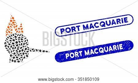 Mosaic Fired Liar And Corroded Stamp Seals With Port Macquarie Text. Mosaic Vector Fired Liar Is Des