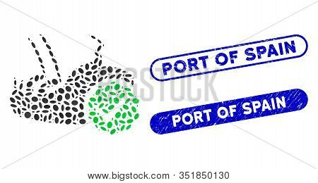 Mosaic Flea Control And Grunge Stamp Seals With Port Of Spain Phrase. Mosaic Vector Flea Control Is